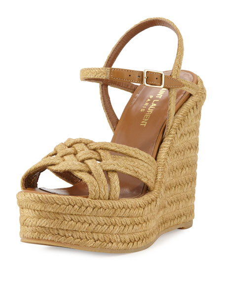 Saint Laurent Braided Jute Wedge Sandal, Almond