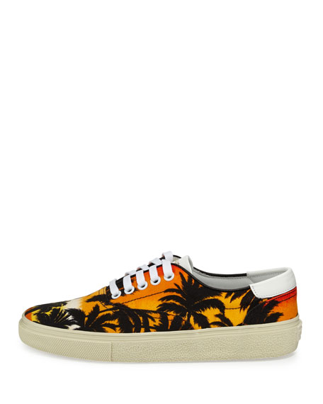 Palm-Tree Low-Top Sneaker, Black/Multi