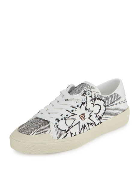 Saint Laurent Bang-Embroidered Canvas Low-Top Sneaker, White/Black