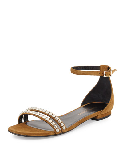 Studded Suede Ankle-Strap Flat Sandal, Tan