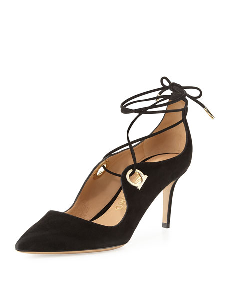 Salvatore Ferragamo Fidan Suede Lace-Up Pump, Nero