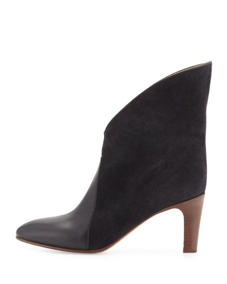 Fold-Over Bicolor Ankle Boot, Charcoal/Gray