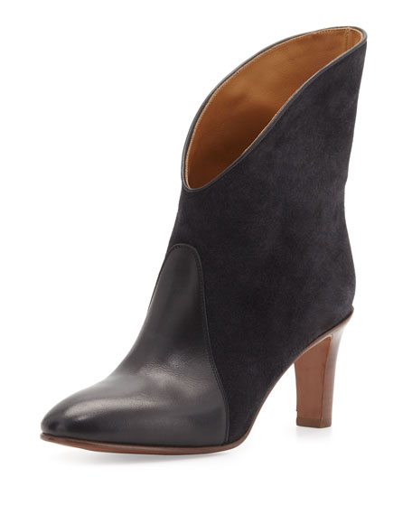 Chloe Fold-Over Bicolor Ankle Boot, Charcoal/Gray