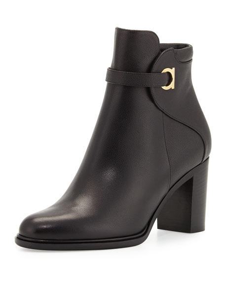 Salvatore Ferragamo Florian Leather 70mm Ankle Boot, Black