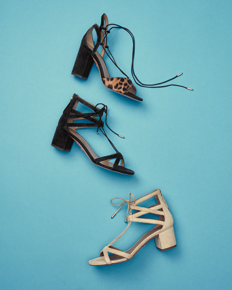 Beverly Hills Suede Lace-Up Sandals, Black