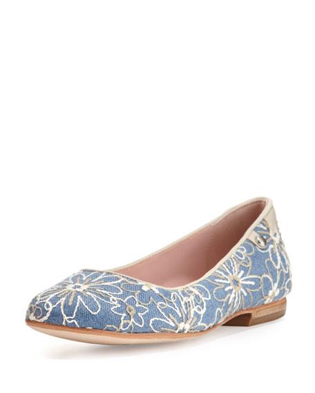 Taryn Rose Bud Floral-Embellished Ballerina Flat, Jean/Bone