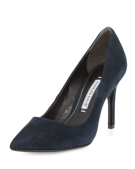 Charles David Donnie Pointed-Toe Pump, Navy