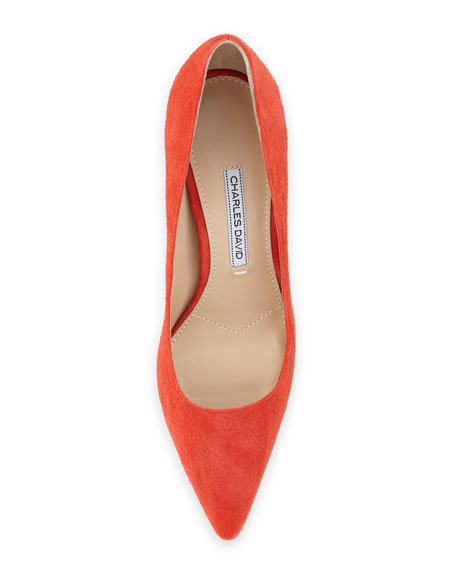 Donnie Pointed-Toe Pump, Red