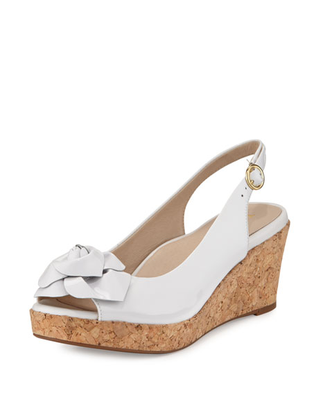Taryn Rose Star Patent Flower Slingback Wedge Sandal,
