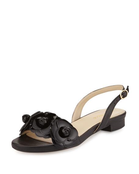 Taryn RoseIda Flower Flat Slingback Sandal, Black