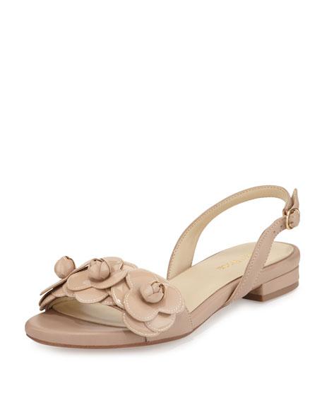 00cf7c4e7450 Taryn Rose Ida Flower Flat Slingback Sandal