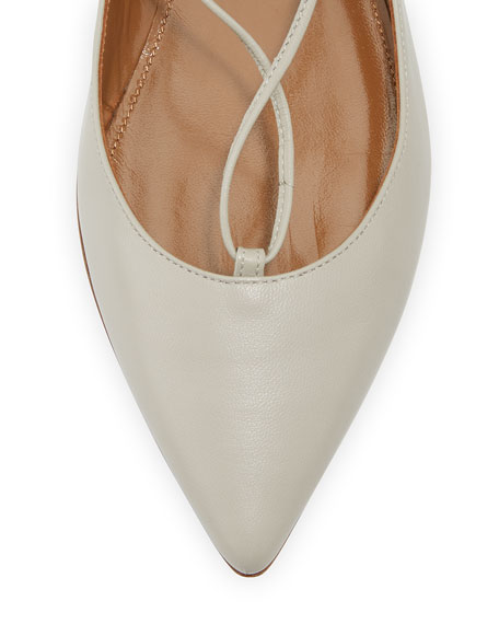 Christy Lace-Up Pointed-Toe Flat, Light Gray