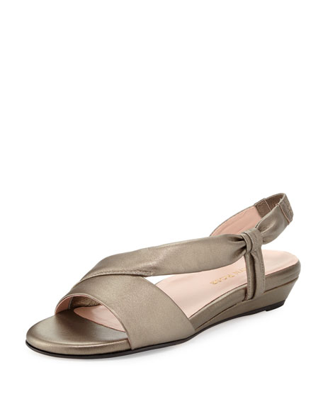 Taryn Rose Ion Leather Demi-Wedge Sandal, Quartz