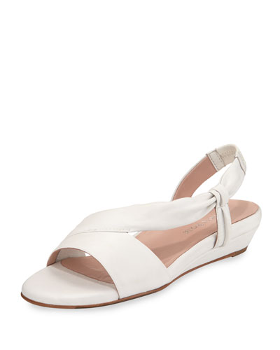 Ion Leather Demi-Wedge Sandal, White