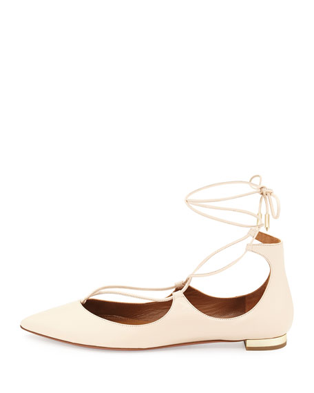 Christy Lace-Up Pointed-Toe Flat, Blush
