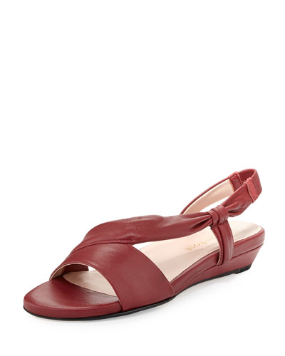 Ion Leather Demi-Wedge Sandal, Red