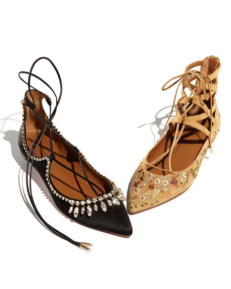 Christy Crystal Lace-Up Pointed-Toe Flat, Black