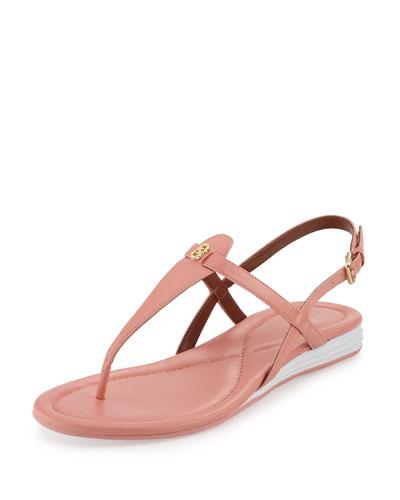 Violette II Leather T-Strap Sandal, Coral Haze