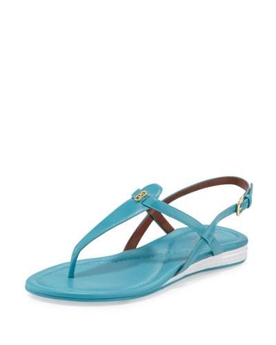 Violette II Leather T-Strap Sandal, Lagoon