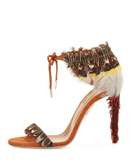 Rio Feather Ankle-Tie Sandal, Luggage