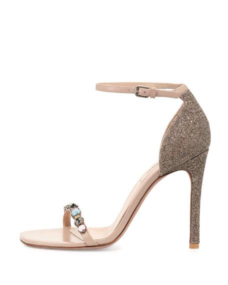 Embellished Glitter Naked Sandal, Gold