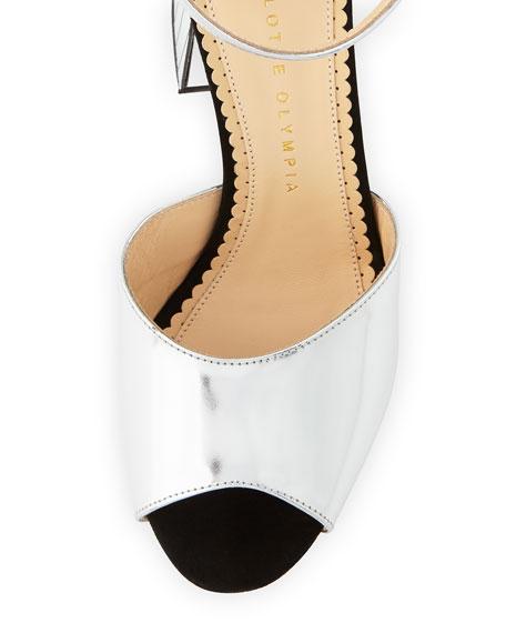 Elie Striped Ankle-Wrap Sandal, Silver