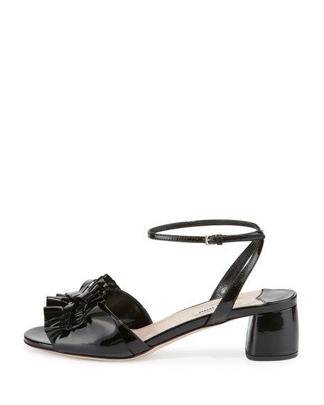 Ruffled Patent 45mm Sandal, Nero