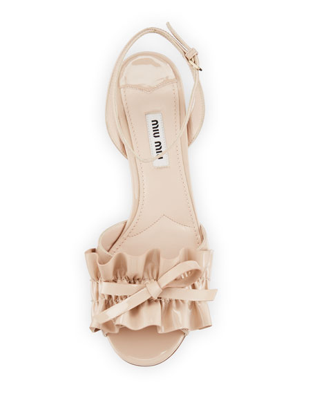 Ruffled Patent 45mm Sandal, Cipria