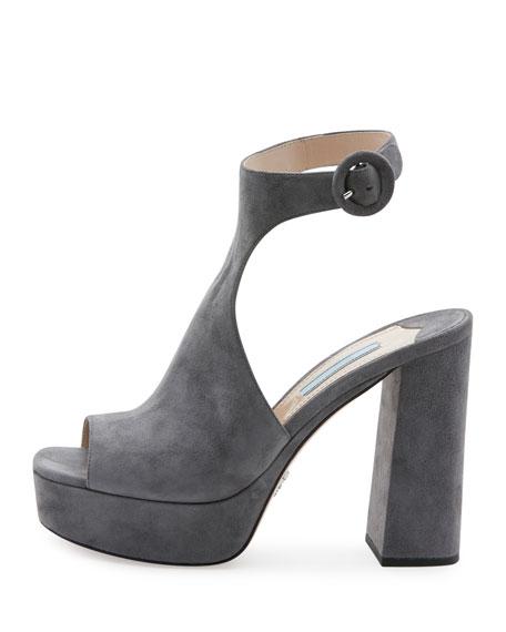 Prada Suede Ankle-Wrap 115mm Sandal, Nebbia