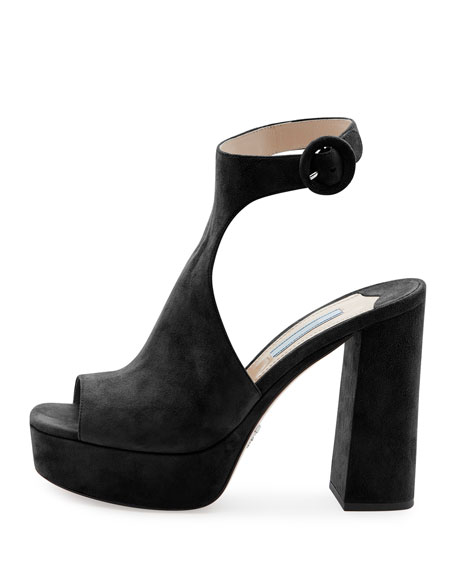 Suede Ankle-Wrap 115mm Sandal, Nero
