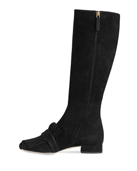 Marmont Suede 25mm Knee Boot, Black