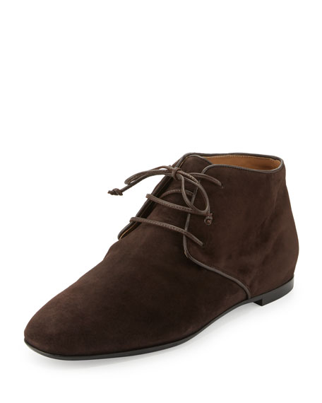 THE ROW Ada Suede Lace-Up Bootie, Dark Brown