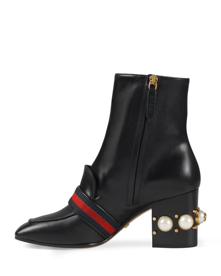 Peyton Pearly-Heel Ankle Boot, Black
