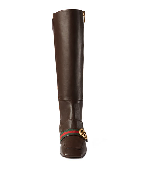 Peyton Leather Knee Boot, Brown