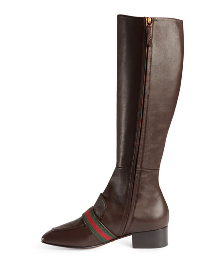 Leather Knee Boot, Brown