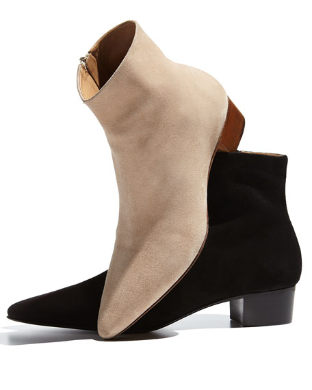 Ambra Suede Pointed-Toe Bootie, Black