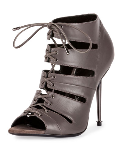 Open-Toe Lace-Up 105mm Bootie, Graphite