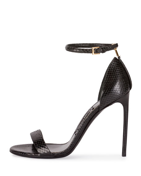 T-Bar Snakeskin Ankle-Strap Sandal, Black