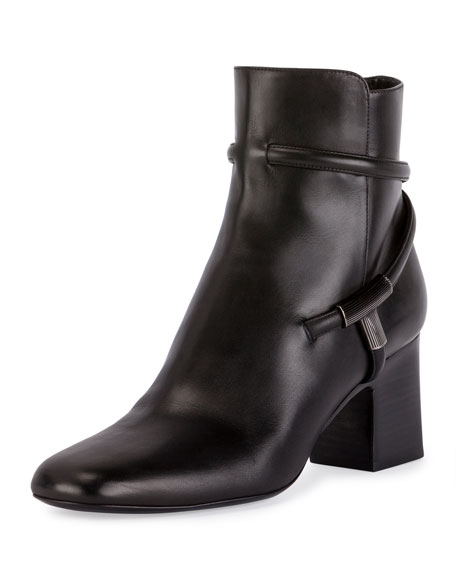 TOM FORD T-Bar Leather 65mm Bootie, Black