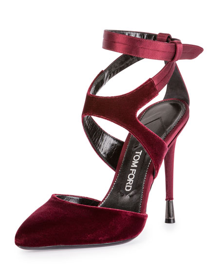 Velvet Ankle-Strap 105mm Pump, Bordeaux