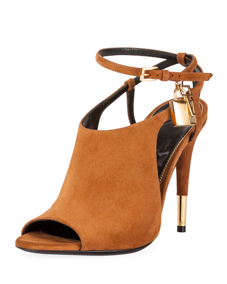 TOM FORD Lock Suede Open-Toe Ankle-Wrap Bootie, Biscuit