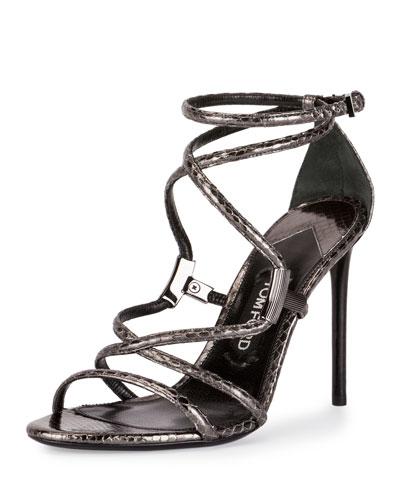 Snakeskin Crisscross 105mm Sandal, Gunmetal
