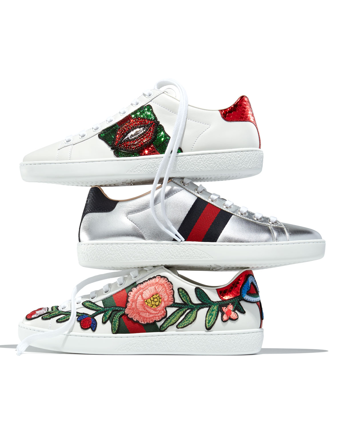 wx92TSLkzc New Ace Floral-Embroidered Leather Low-Top Sneakers