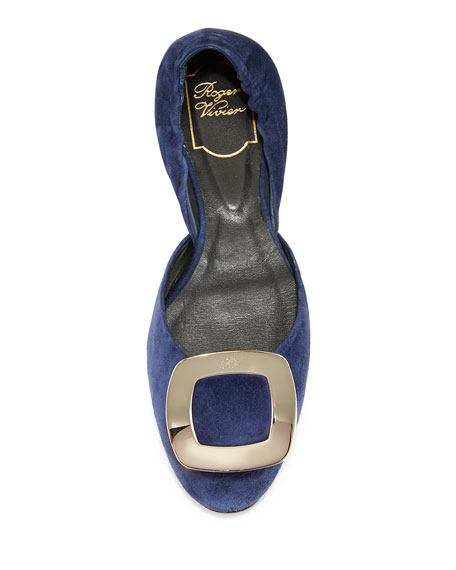 Ballerine Chips Suede d'Orsay Flat, Navy
