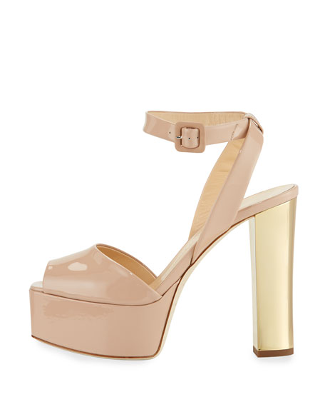 Image 2 of 4: Lavinia Patent Platform Sandals, Blush