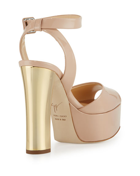 Lavinia Patent Platform Sandals, Blush