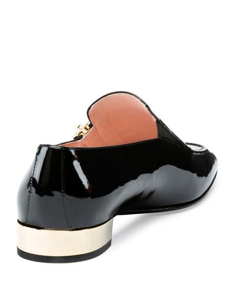 Roger Vivier Polly Patent Zip Loafer, Black
