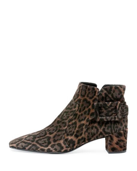 Roger Vivier Polly Leopard-Print Suede Bootie, Leopard