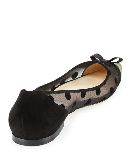 Dorothy Polka-Dot Mesh Flat, Black/Bronze