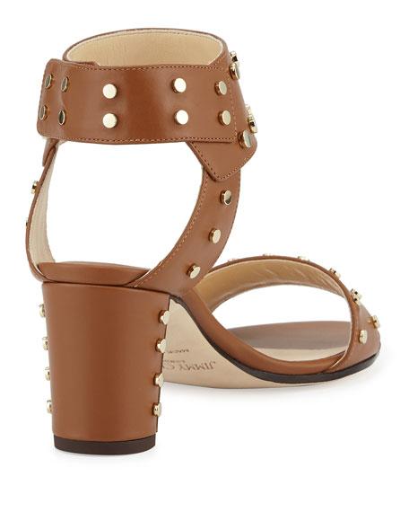 Veto Studded Leather 65mm Sandal, Canyon/Gold